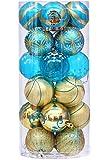 Sea Team 24 Stück Weihnachtskugeln Box Christbaumschmuck aus Kunststoff bis Ø 6 cm Glänzend Glitzernd Weihnachten Deko Anhänger, Gold und Blau