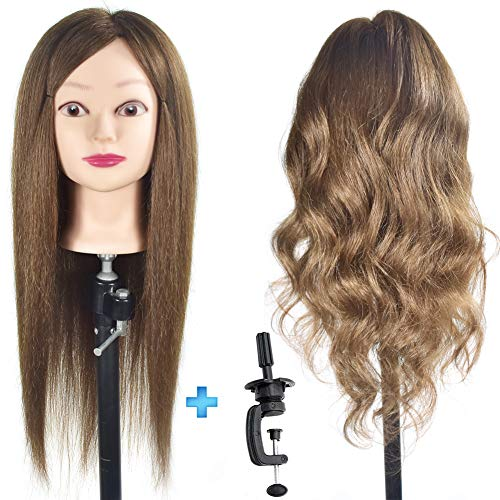 Cabeza de maniquí de cosmetología femenina ErSiMan, con cabeza de maniquí 100% de pelo humano, cabeza de maniquí de 20 pulgadas para entrenamiento de peluquería y cabeza de muñeca con abrazadera