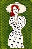 Posterlounge Leinwandbild 120 x 180 cm: Frau mit Hut von Morris Hirshfield - fertiges Wandbild, Bild auf Keilrahmen, Fertigbild auf Echter Leinwand, Leinwanddruck