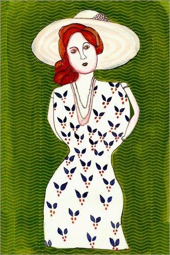 Posterlounge Acrylglasbild 120 x 180 cm: Frau mit Hut von Morris Hirshfield - Wandbild, Acryl Glasbild, Druck auf Acryl Glas Bild