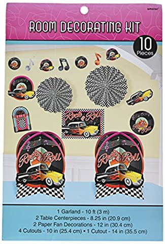 Amscan Nifty 50's Theme Party Rock & Roll Decorating Kit (10 Piece), Multi Color, 15.7 x 10 by Amscan