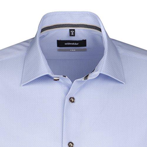 SEIDENSTICKER Herren Hemd X-Slim 1/1-Arm Bügelfrei Uni / Uniähnlich City-Hemd Kent-Kragen Kombimanschette weitenverstellbar hellblau (0011)