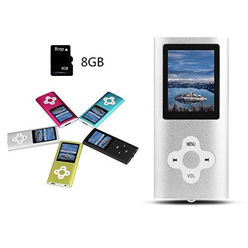 Btopllc Reproductor de MP3/MP4,Tarjeta de Memoria de 8GB,Reproductor de música portátil y Reproductor de MP3 Compacto,Reproductor de Video,Lector de Libros electrónicos,Reproductor de música-Plateado