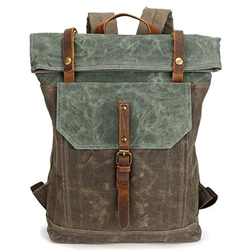 VICROAD Retro Segeltuch Leder Rucksack Wasserdicht Dauerhaft Daypack 15.6 Zoll Laptoprucksack Schulrucksack Backpack (Canvas Gewachstem Rucksack Herren)