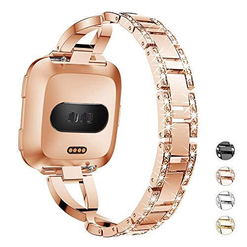 DBoer uhrenarmband Fitbit Versa Armband Band für Frauen Bling Straps Large X Edelstahlarmband - Metall Ersatzriemen für Fitbit Versa Smartwatch, Rose Gold