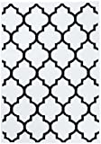 Tapiso Fire Teppich Modern Kurzflor Marokkanisch Geometrisch Gitter Muster Schwarz Weiss Designer Wohnzimmer 160 x 230 cm