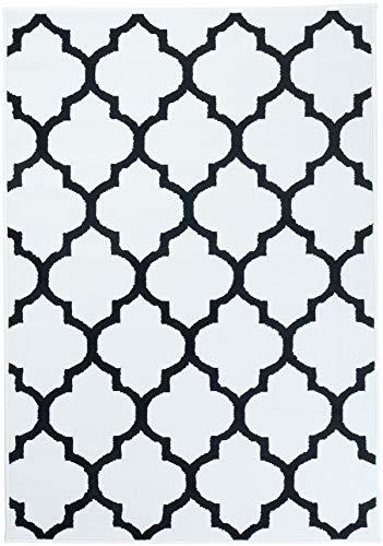 Tapiso Alfombra Salón Moderno Piso Colección Fire – Estilo Marroquí Diseño Geométrico Tréboles – Color Blanco Negro 250 x 300 cm