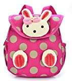 URAQT Cute Rabbit/Bear Anti-lost Baby Backpack, Toddler Kids School Bag, Preschool Kindergarten Schoolbag for Lunch/Sport/Picnic/Camping/Outdoor Activities