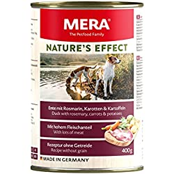 MERA NATURE´S EFFECT Nassfutter, Getreidefreies Premium Hundefutter mit Wildschwein, Ente oder Rind - 6er Pack