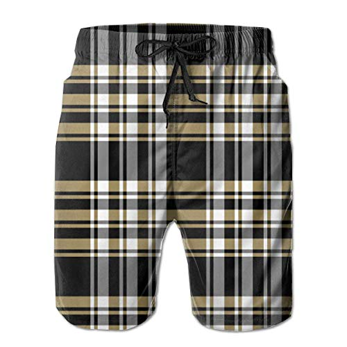 Madras Plaid Shorts (hunany Custom Art Mens Summer Swim Trunks Quick Dry Funny Beach Board Shorts with Mesh Lining - Madras Plaid Black Gold)