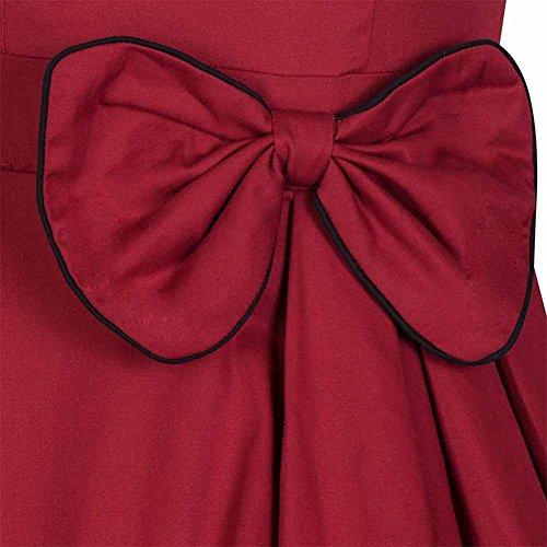WintCO Damen Retro 1950er Audrey-Hupburn Rockabilly Abendkleid mit Schleife Tanzkleid V-Ausschnitt Vintage Swing Kleid in mehreren Farben Rot