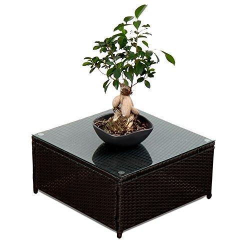 XINRO® Polyrattan Lounge Möbel Tisch schwarz - Gartenmöbel Polyrattan Lounge Tisch mit Glasplatte - durch andere Polyrattan Lounge Gartenmöbel Elemente erweiterbar