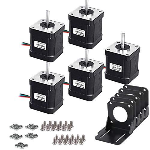 Missicee 5 PCS NEMA 17 Schrittmotor Bipolar 2.0 A 83.6oz. in (59ncm) 47 mm Körper 4-lead W/1 m Pin Kabel + 5 PCS NEMA 17 Montagehalterung für 3D Drucker/CNC
