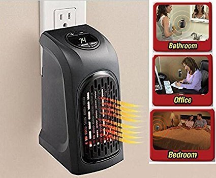 SALESURE Portable Heater, 400W Handy Heater Compact Plug-In Portable Digital Electric Heater Fan Wall-Outlet Handy Air Warmer Blower Adjustable Timer Digital Display for Home/Office/Camper