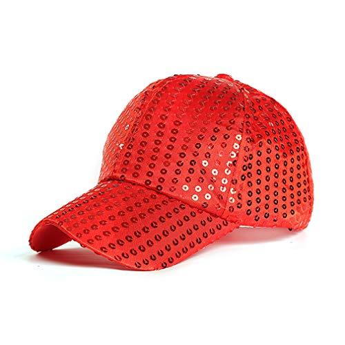 MOONQING Bright Color Unisex Pferdeschwanz Baseball Mütze Sequin Cap Einstellbare Snapback Hut Sonnenhut, rot