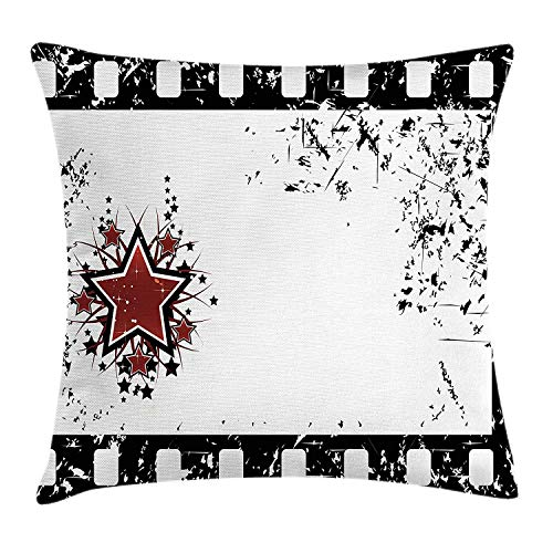 Movie Theater Throw Pillow Cushion Cover, Grungy Illustration of Film Strip with Ornamental Stars Cinematography, Decorative Square Accent Pillow Case, 18 X 18 inches, Black White Ruby -