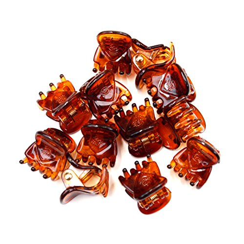 rougecaramel - Lot de 12 mini pinces crabe plastique marron 15mm