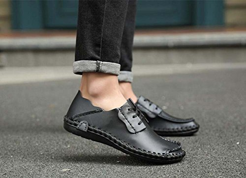 Pump Business Casual Chaussures en cuir Slip on Loafer Hommes Retro Round Toe Pure Color British ShoeLace Plate Chaussures Chaussures de course Eu Taille 38-47 Black hollow