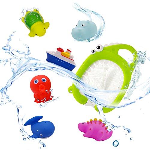 QUN FENG Baby Badespielzeug Schwimmende Set , 7 STK Ocean Spray Weiches Bad Zeit Boot Spielzeug, Badewanne Lernen Wasserspielzeug und Squirt Badespielzeug für Mädchen Jungen Kleinkinder (Bad Spielzeug Boot)