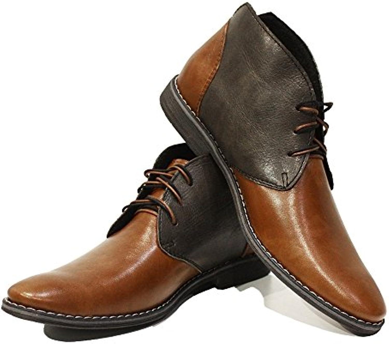 Modello Feliciano   Handgemachtes Italienisch Leder Herren Braun Stiefeletten Chukka Stiefel   Rindsleder Weiches