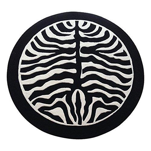 Tapis ZHIRONG Rond Noir et Blanc Motif de zèbre épaississement Anti-dérapant résistant à l'usure Table Basse Mat de Chevet (Taille : 120 * 120CM)