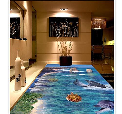 Zybnb 3D Wallpaper 3D Boden Wandbilder Pvc Wasserdichte Boden Wandmalerei Pvc Wasserdicht Boden Dekoration Fisch-200X140Cm