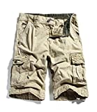 "GUUKA Men's Cotton Cargo Shorts(Khaki,36/38.6"")"