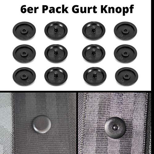 Universal Gurt Knopf aus Hartplastik, gleiche Qualität wie original Ersatzteile, geeignet für alle KFZ Marken, Gurt Rücklauf Sperre, 6er Pack in schwarz, Sicherheitsgurt Stopper, Autogurt Niete