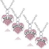 4Big Mitte Little Baby Schwester pink Kristall Herz Anhänger Halskette Set Familie Geschenk für Frauen Mädchen