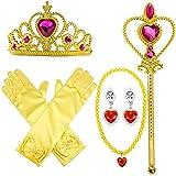 MMTX Prinzessin Dressing Up Kost�m Zubeh�r 6 St�ck Geschenk-Set f�r Prinzessin Cosplay Handschuhe Tiara Zauberstab und Halskette ?gelb? (Gelb) Bild