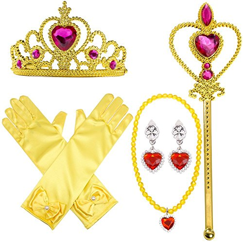 MMTX Prinzessin Dressing Up Kostüm Zubehör 6 Stück Geschenk-Set für Prinzessin Cosplay Handschuhe Tiara Zauberstab und Halskette (gelb) - Schule Halloween Zubehör Kostüm Mädchen