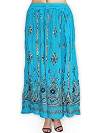 Fabcolors Casual Wear Full Length Rayon Flared Long Skirt With Sequence Embroidery Work (Sky Blue)