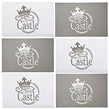 Bada Bing 6er Set Tischset Platzmatte My Home is My Castle Beige Grau Modern Tisch Deko Untersetzer 74