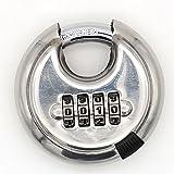 MIONI 4-stellige Kombination Disc Vorhängeschloss mit gehärtetem Stahl Schäkel Silber Lock für Schuppen, Lagereinheit, Fitnessraum und Zaun