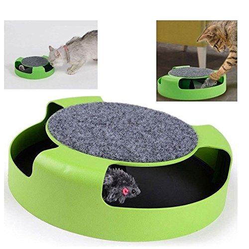 damastoreitalia® Juego Interactivo para Gatos Doble Función EL ratón y rascador para Gatos, 25cm