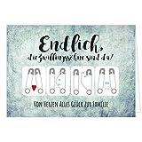 Große XXL Design Geburtskarte zur Geburt/Zwillinge / Klappkarte/mit Umschlag / A4 / Zwillings-Söhne Jungen/Baby geboren/Grußkarte zur Gratulation Eltern