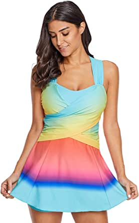 BOYANN Tankini Colore Sfumato X Indietro Costume da Bagno Donna