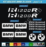 Pimastickerslab Aufkleber Aufkleber BMW R1200R R1200R Kit 12Teile?wählen Colore- Moto Motorrad Cod. 0063? - Bianco cod. 010