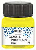 KREUL 16291 Glass & Porcelain - Pintura para Cristal y Porcelana (Base de Agua, Secado rápido, Transparente, 20 ml), Color Amarillo