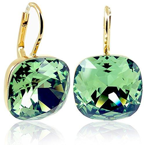 Ohrringe mit Kristalle von Swarovski® Grün Gold NOBEL SCHMUCK