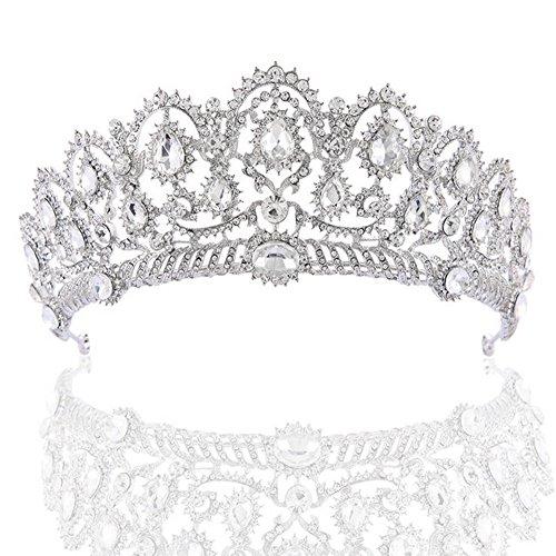 Pageant Kostüm Queen - WHUI Vintage Barock Kristall Diamant Braut Krone Prom Queen Pageant Tiaras Prinzessin Strass Stirnband Hochzeit Zubehör