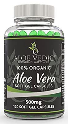 Aloevedic - 100 % Organic Aloe Vera Gel soft capsules - 500 mg ( 120 tablets ) -For Detox Digestion Metabolism and skin care by AloeVedic