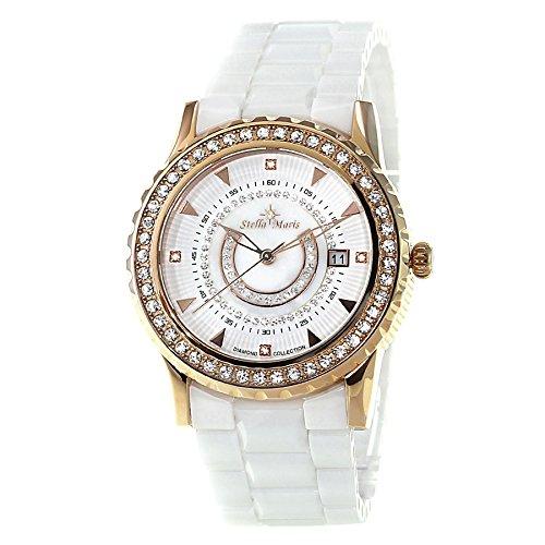 Stella Maris STM15Z3 - Montre Femme Quartz Analogique Cadran blanc Bracelet Céramique blanc avec diamants et éléments Swarovski