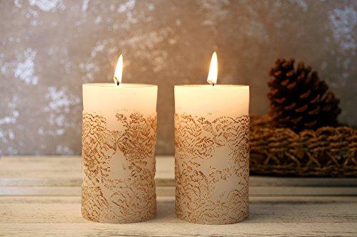 Künstlerisches Muster Stumpenkerzen Stes Groß 2-er Pack weiß Gold Geschenk Kerzen Vintage ø70 x 130 mm 120Std