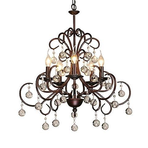 DPG Bronze K9 Kristall-Kronleuchter Decken-Pendelleuchte E14 220V 110V für Wohnzimmer, Schlafzimmer (Birne nicht inbegriffen)