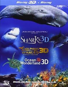 Jean-Michel Cousteau's Film Trilogy: Dolphins & Whales/Sharks/Ocean Wonderland (Blu-ray 3D + Blu-ray) [Region Free]