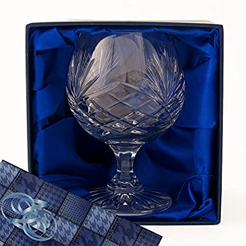 Brandy Glass, A Fully Cut, 24% Lead Crystal Brandy Glass, in a Satin Lined Presentation Box, with Gift Wrap and Ribbon as shown, for you to use if you choose.Wedding, Birthday, Retirement