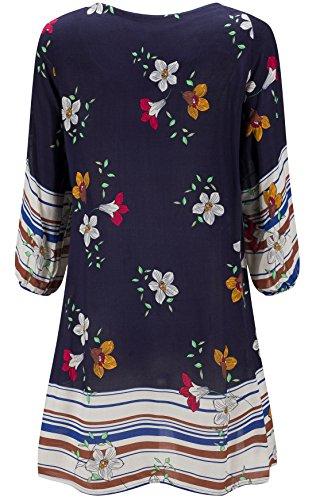 KorMei Damen Rundhals 3/4-Arm Tunika Strandkleid Minikleid Bohemian Kleider Blau&Blumen