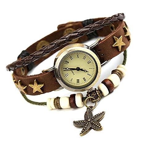 Kreis Lederarmband Armband Unisex Neue Art Und Weise Multi Strang-Leder-Armband Stammes-geflochtenen Seil Stern Niet Wulstige Seestern Anhänger Uhr Brown