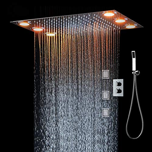 TQ 360 * 500m LED-Leuchten & Handdusche Fernbedienung Farbe 3 Way Temperatur Thermostatika Mixer Bathroom3 Body Spray Rain Dusche (Fernbedienung-dusche-ventil)
